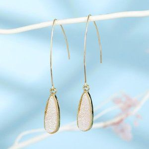 3/$20 New Gold & White Druzy Teardrop Earrings